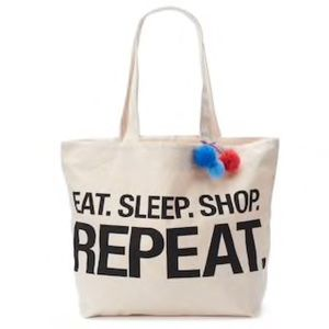 Handbags - Canvas Print Tote Bag EAT.SLEEP.SHOP.REPEAT